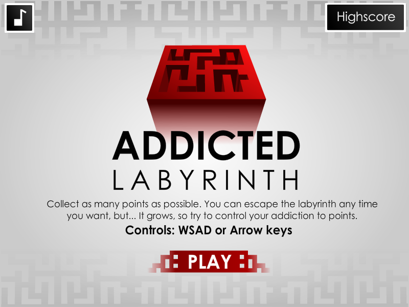 Addicted Labyrinth menu screen