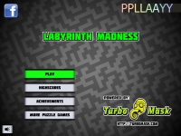 Labyrinth Madness start menu screen. Powered by TurboMask