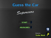 Guess the Car: Supercars game menu. Powered by TurboMask.
